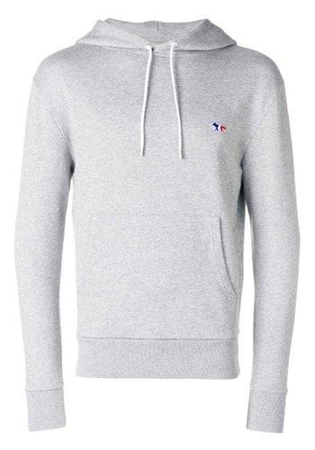 MAISON KITSUNE hoodie tricolor fox patch grey melange