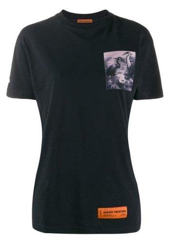 HERON PRESTON reg tshirt ss heron patch off black multicolor