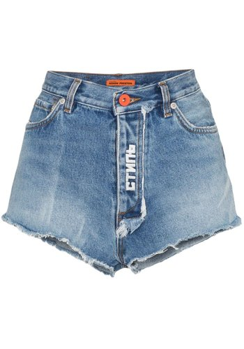 HERON PRESTON denim shorts wash vintage wash white