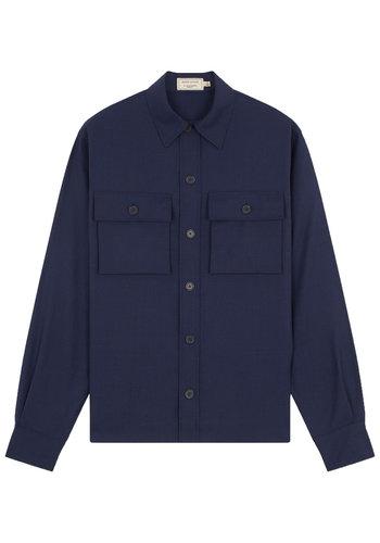 MAISON KITSUNE pockets overshirt blue melange