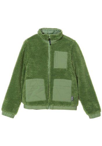 STUSSY convertible sherpa jacket green