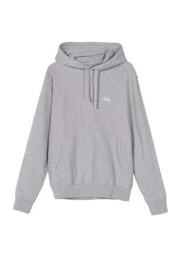 STUSSY stock logo hood grey heather