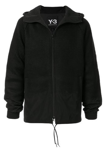 Y-3 punched knit-nyl hood jacket