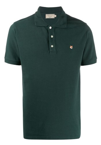 MAISON KITSUNE polo fox head embroidery forest green