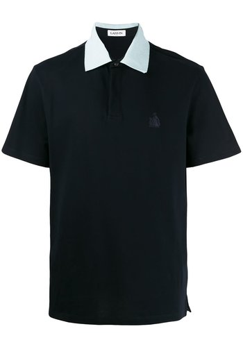 LANVIN logo embroidery gros grain collar ss polo black