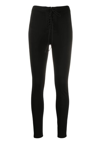 UNRAVEL PROJECT jersey lace up foot leggings black