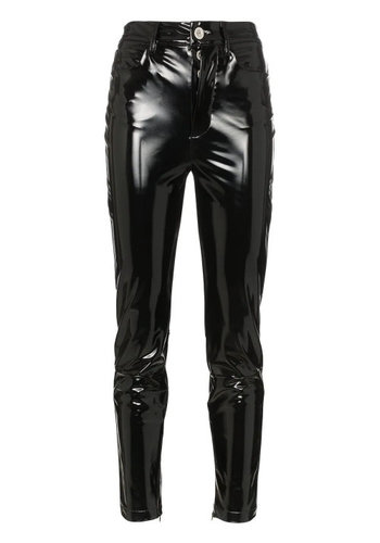 UNRAVEL PROJECT high waist skinny latex pants black