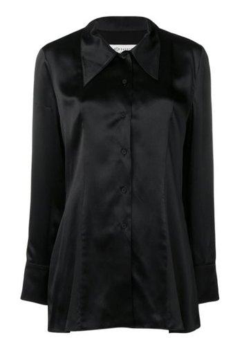 MAISON MARGIELA lace trimmed silk-satin blouse