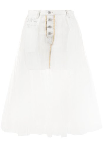 UNRAVEL PROJECT short washout dnm tulle skirt white