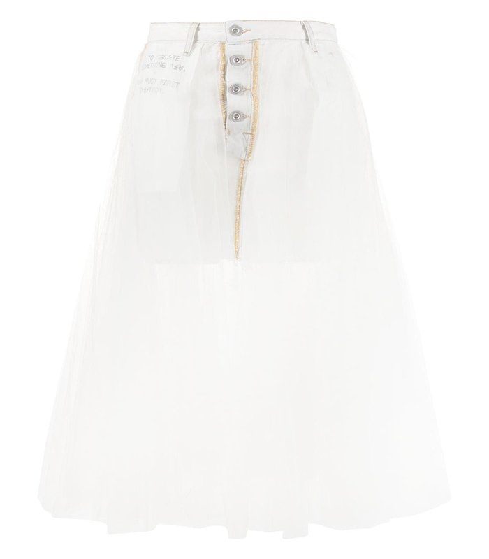 SHORT WASHOUT DNM TULLE SKIRT WHITE NO COLOR