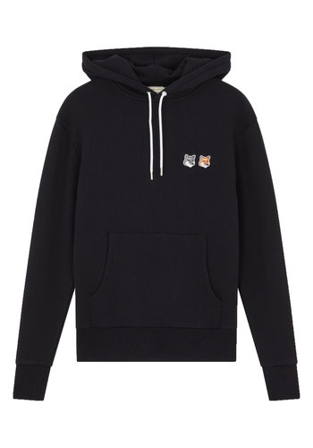 MAISON KITSUNE double fox head patch hoodie black