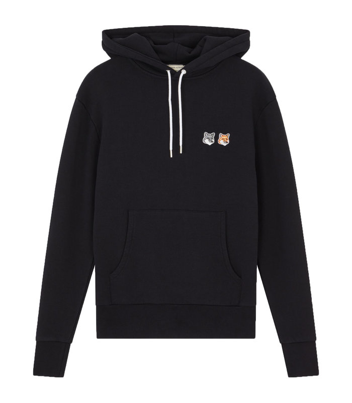 DOUBLE FOX HEAD PATCH HOODIE BLACK