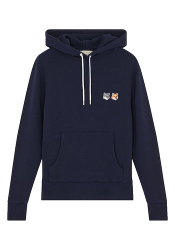 MAISON KITSUNE double fox head patch hoodie navy