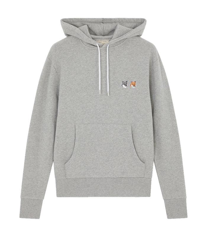 DOUBLE FOX HEAD PATCH HOODIE GREY