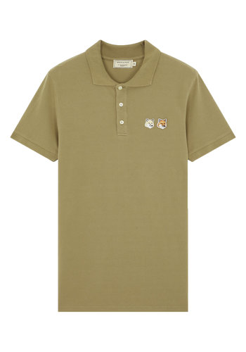 MAISON KITSUNE polo double fox head patch light khaki