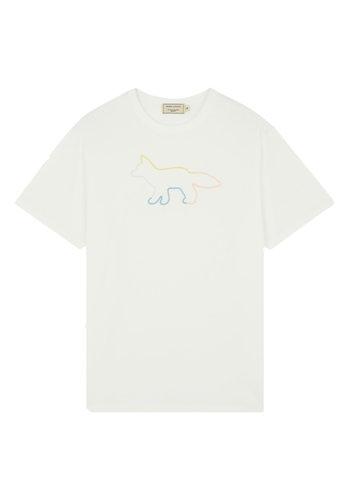 MAISON KITSUNE t-shirt rainbow profile fox white
