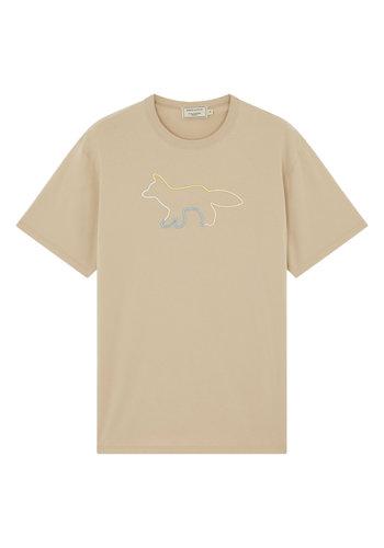 MAISON KITSUNE t-shirt rainbow profile fox beige
