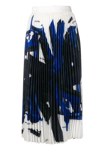 OFF-WHITE blue brushstroke plisse skirt white blue
