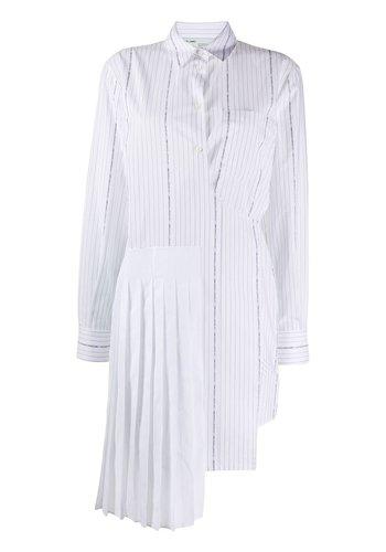 OFF-WHITE popeline wrap panel dress white black