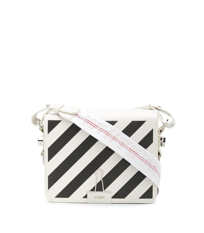 DIAG FLAP BAG OFF WHITE BLACK SS20