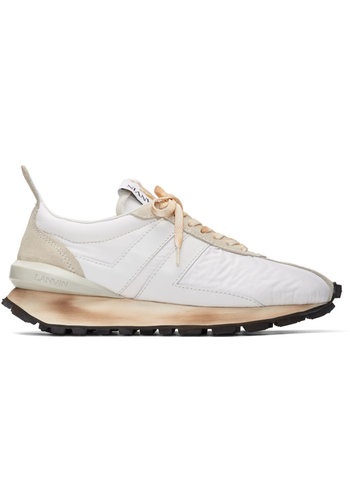 LANVIN running sneaker in nylon nappa and suede white