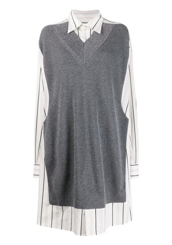 MAISON MARGIELA shirt dress white grey