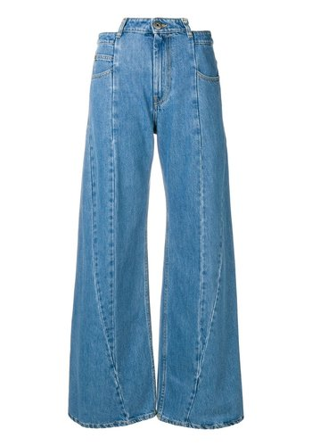 MAISON MARGIELA cut out jeans stone wash
