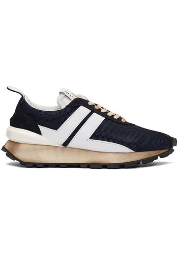 LANVIN running sneaker in nylon nappa and suede navy