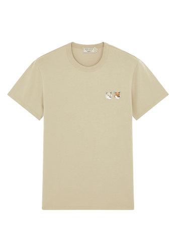 MAISON KITSUNE t-shirt double fox head patch beige