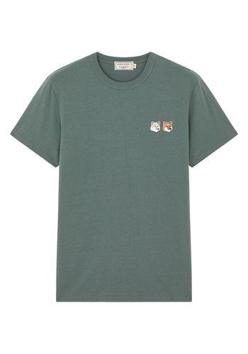 MAISON KITSUNE t-shirt double fox head patch blue/green