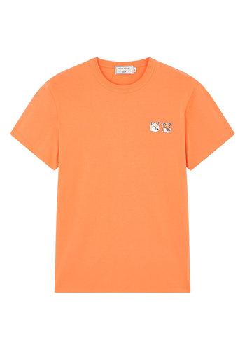 MAISON KITSUNE t-shirt double fox head patch orange