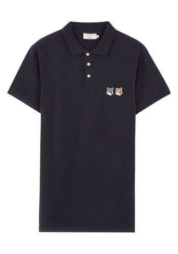 MAISON KITSUNE polo double fox head patch anthracite