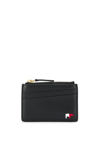 MAISON KITSUNE zipped card holder leather black