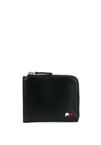 MAISON KITSUNE tricolor coin purse leather black