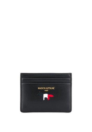 MAISON KITSUNE tricolor card holder leather black