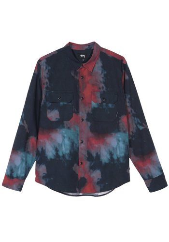 STUSSY dark dye work shirt black