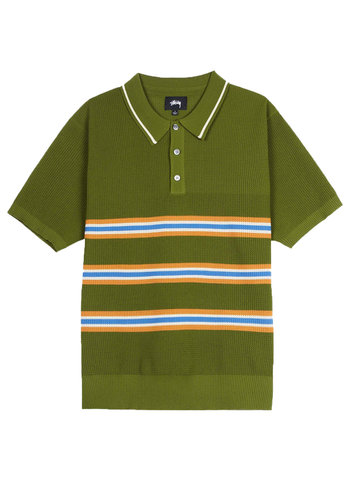 STUSSY montego stripe polo green