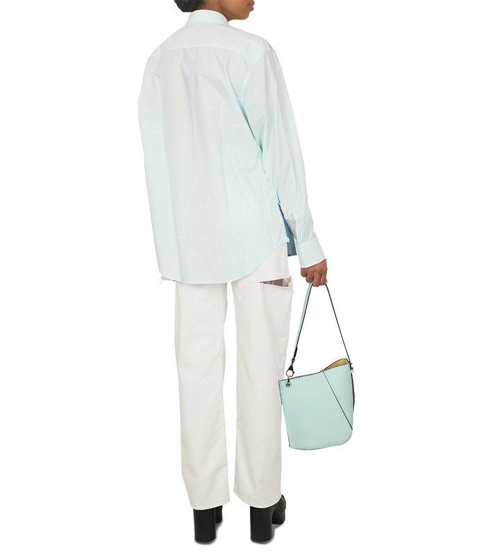 ASIMMETRICAL SMALL BUCKET BAG BLUE