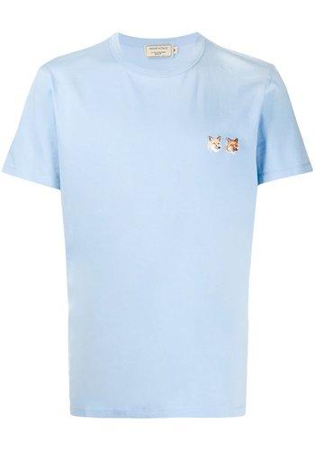 MAISON KITSUNE t-shirt double fox head light blue