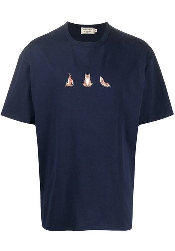 MAISON KITSUNE t-shirt yoga fox print navy