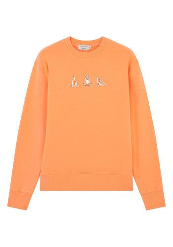 MAISON KITSUNE sweatshirt yoga fox patches orange