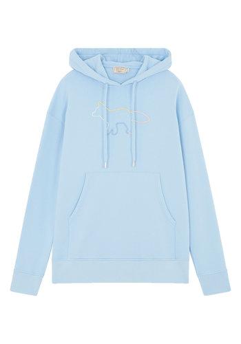 MAISON KITSUNE hoodie rainbow profile fox embroidery light blue