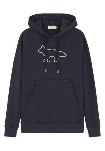 MAISON KITSUNE hoodie rainbow profile fox embroidery black
