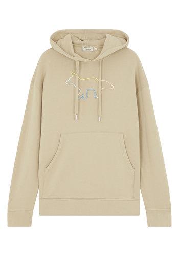 MAISON KITSUNE hoodie rainbow profile embroidery beige