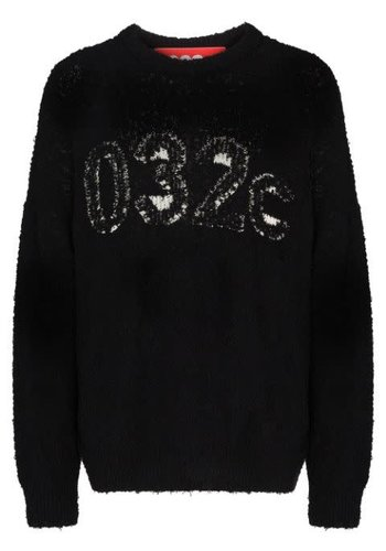 032C terry knit pullover with intarsia logo black