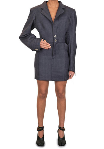 NINAMOUNAH tradition short dress pinstripe navy