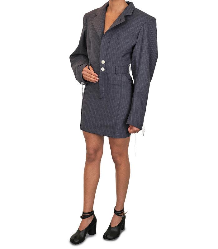 TRADITION SHORT DRESS PINSTRIPE NAVY
