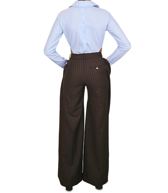 PLAGUE TROUSERS PINSTRIPE BROWN