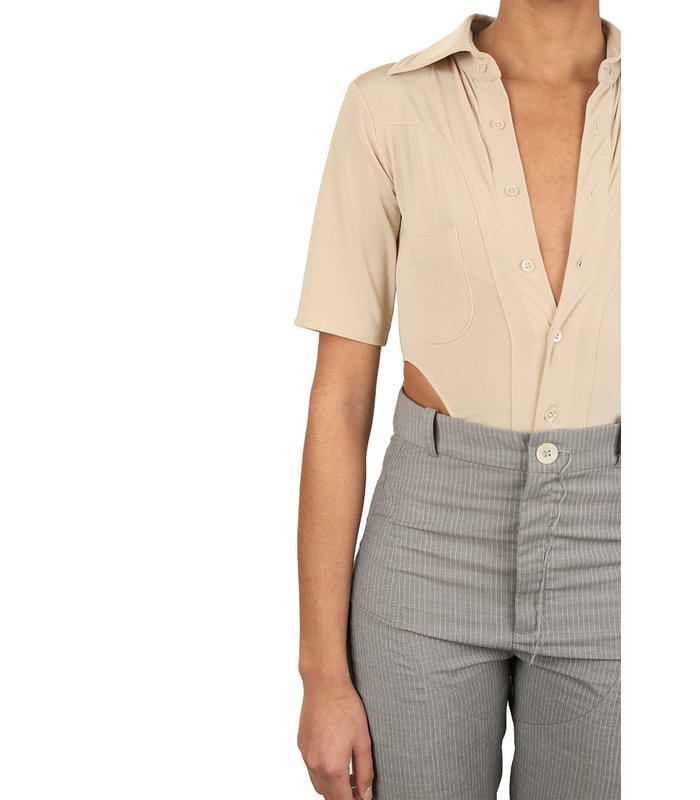 BIPEDS BODY BLOUSES SHORT SLEEVE CHAMPAGNE