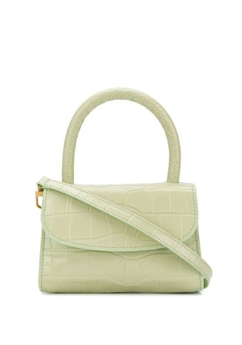 BY FAR mini sage green croco embossed leather